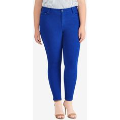 Lauren Ralph Lauren Plus Size High-Rise Skinny Jeans ($100) ❤ liked on Polyvore featuring plus size women's fashion, plus size clothing, plus size jeans, bright royal wash, blue skinny jeans, blue high waisted jeans, high-waisted jeans, blue jeans and plus size blue jeans
