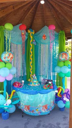 Can do a backdrop like this for any party. Little Mermaid birthday party. Little Mermaid Parties, The Little Mermaid, Little Mermaid Decorations, Little Mermaid Cupcakes, Little Mermaid Birthday Cake, Balloon Decorations, Festa Party, 4th Birthday Parties, Birthday Ideas