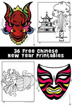 Celebrate The Chinese Lunar New Year With 36 Printable Masks And Coloring Pages A Dragon