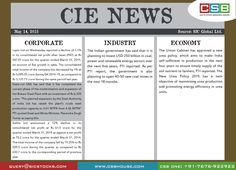 CSB CIE News: (May 14, 2015) Bringing to you important news and key highlights from corporate, industry, and economy. Don't miss the updates! To read more, visit http://www.csbhouse.com #stocks #globalnews #researchreports