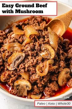 Keto ground beef with mushroom recipe Easy keto ground beef recipe with zucchini noodles, inspired by beef stroganoff. This Paleo Keto ground beef dish is easy, affordable, and loaded with flavor! Whole30 Dinner Recipes, Paleo Meal Prep, Paleo Recipes Easy, Whole 30 Recipes, Paleo Dinner, Ground Beef Dishes, Ground Beef Recipes Easy, Beef With Mushroom, Mushroom Recipes