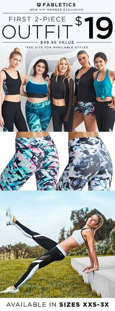 Discover casual, chic and affordable with Fabletics by Kate Hudson and find your favorite 2-Piece Outfit for $19 when you become a VIP Member. As a VIP, you�ll enjoy a new personalized styles each month, as well as exclusive pricing, early access to sales & free shipping on orders over $49. Don�t think you�ll need something new every month? No problem � click �Skip The Month� in your account by the 5th. Take our 60 second quiz to unlock this special offer!