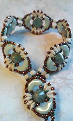 My variation of Deb Roberti's free pattern, Jolie bracelet. Thanks, Deb!