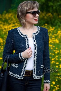 Crochet jacket in the style of Chanel