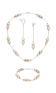 Jewelry Design - Single-Strand Necklace, Bracelet and Earrings Set with Cultured Freshwater Pearls and Swarovski Crystal - Fire Mountain Gems and Beads