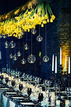 Beautiful: Upside-Down Centerpieces Designed by Bold American Events & Catering, upside-down centerpieces of tulips and glass globes hung overhead at a wedding at the King Plow Event Gallery in Atlanta. Photo: Our Labor of Love Tulip Wedding, Yellow Wedding, Wedding Flowers, Dream Wedding, Wedding Day, Wedding Photos, Wedding Dress, Botanical Wedding, Spring Wedding