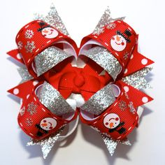 Merry Christmas Glitter Snowman Red Stacked Boutique Hair Bow