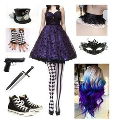 """""""Untitled #90"""" by shadow-cheshire ❤ liked on Polyvore featuring Hell Bunny, Leg Avenue and Converse"""