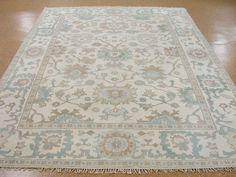 8 x 11 OUSHAK Hand Knotted  Wool IVORY AQUA BLUE NEW Oriental Rug Carpet #Unbranded #TurkishOushak