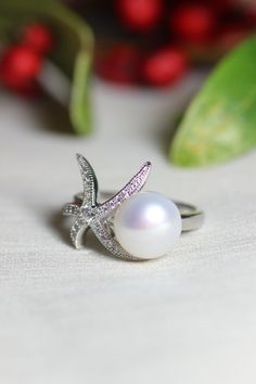 Fresh Water Pearl, Sterling Silver Ring,Engagement Ring,Promise Ring,Starfish Ring on Etsy, $55.66