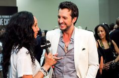 Country singer Luke Bryan has a word with Julie Brown.