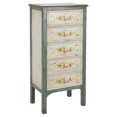 Featuring a floral design, this wooden chest of drawers is perfect for housing your winter wardrobe or board games in the study. Prod...