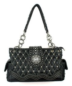 Look what I found on #zulily! Black Studded-Quilt Shoulder Bag by Savana #zulilyfinds