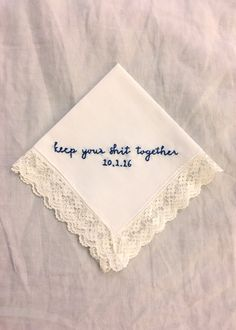 Gifts for the Bride, Vintage Hanky, Funny Embroidery, Something Blue, Something Old, Gifts for Her, Under 30, Wedding Accessories, Stitched by HookAndHoop on Etsy