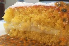 Bolo de Maracujá com creme de coco Le Garb Vanilla Cake, Pie, Desserts, Food, Passion Fruit Cake, Dessert, Recipes, Ideas, Beverage