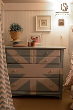 (Children's attic 1 of 2) The dresser is cool—the bead board & monogram sconce shades are also a nice touch for a child's bedroom❣ These details add the right touch of sophistication to help this decor endure as the girls grow up & the room could easily transition to a guest bedroom❣ Eclectically Vintage