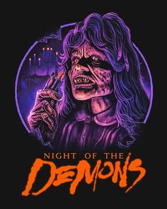 """Horror Movie Poster Art : """"Night Of The Demons"""" 1988 by Marc Schoenbach Horror Movie Posters, Movie Poster Art, Horror Films, Horror Art, American Horror Story Movie, Night Of The Demons, Horror Monsters, Halloween Poster, Classic Horror Movies"""
