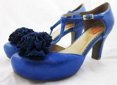 MIZ MOOZ LACEY T-STRAP HEELS Royal Blue Leather Flower PLATFORM PUMPS 8.5 #MiaMooz #Strappy