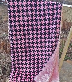 Baby Girl Blanket in Pink and Black Houndstooth Minky and Pink Rose Minky. Incredibly thick and soft.  Reversible.  Perfect cuddle blanket by ButtarBabies