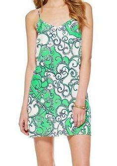 Lilly Pulitzer Dusk Strappy Slip Dress in Go Go Green Shape Up Or Ship Out