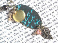 Vintage Style Script Necklace with Tiny Brass by InGodsHands