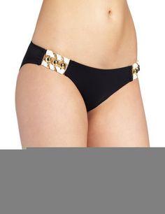 Feels So Right Modest Double Hip Piece Bottom Black Color Front. More Info & Check Price:  http://www.beachbunnybikini.com/beach-bunny-bikini-feels-so-right-modest-double-hip-piece-bottom/
