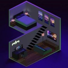 Computer Gaming Room, Gaming Room Setup, Gaming Rooms, Desk Setup, Small Game Rooms, Narrow House Designs, Bedroom Setup, Floor Plan Layout, Video Game Rooms