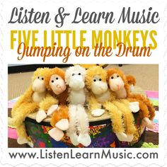 Five Little Monkeys Jumping on the Drum, by Listen & Learn Music Preschool Music Activities, Preschool Boards, Preschool Activities, Songs For Toddlers, Kids Songs, Farm Songs, Monkey Jump, Five Little Monkeys, Music And Movement