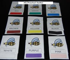 Free Printable #preschool and #kindergarten Bee Theme Color Words/Colors and Number Words/Numbers