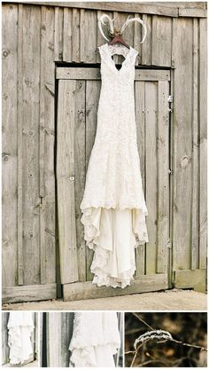How to hang your wedding dress; Photo Idea! Beautiful Country Wedding in Arkansas | Simply Bliss Photography - The Wedding Chicks
