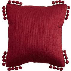 Boho Poms Pillow - Red | Pier 1 Imports
