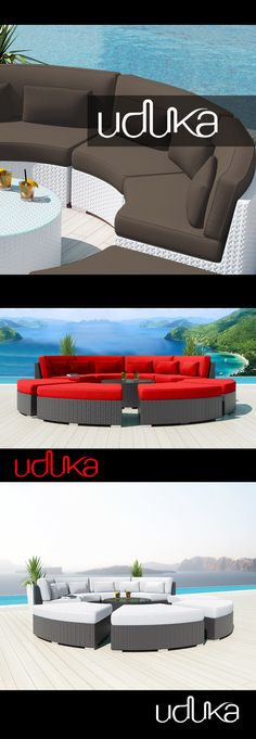 Uduka Outdoor Sectional Modern Patio Furniture White Wicker Sofa Set Porto 6 Orange All Weather Couch #patiofurniture #Wickerfurniture #Rattanfurniture #outdoor