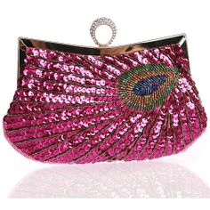 Hot Pink Sequin Peacock Evening Cocktail Party Ball Clutch Bag Purse SKU-1110863