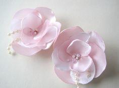 Sweet Pink  Satin Flower shoe clips or Hair pins by priya123, $16.00