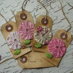 Items similar to Shabby Chic Flowers Gift Tags on Etsy Fabric Crafts, Sewing Crafts, Paper Crafts, Yo Yo Quilt, Shabby Chic Flowers, Handmade Gift Tags, Paper Tags, Christmas Gift Tags, Christmas Decor