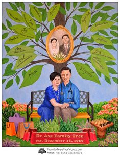 Couple portrait as a thoughtful sentimental gift for their 50th wedding anniversary.  Custom family tree art depicts parents as they look like now and as they were on their wedding day.  The names and professions of children and grandchildren are written on leaves in the style of traditional genealogical tree diagrams.