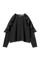 <p>The Logan Blouse has long raglan sleeves with cut-outs and frill details at shoulders. It has a wide fit, a simple round neck in front and a keyhole openingatback. </p><p>- Size Small measures 125 cm in chest circumference, 53 cm in back length and 75 cm in sleeve length.</p>