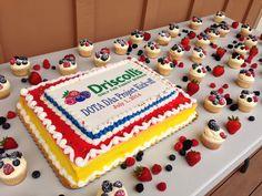 1/2 Sheet Logo Cake with Cupcakes & Fresh Fruits.