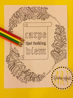 Carpe That Fucing Diem Printable Adult Coloring Book Page Instant Download