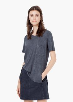 Ribbed t-shirt - T-shirts for Women | MANGO