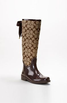 """COACH """" TRISTEE """" Classic Signature Logo Lace Up Rain Rubber Boots. KHAKI BROWN US 5 6 Lightweight, rain-resistant canvas-and-rubber boots lace up with refined cotton ribbons. The boots are not suitable for wide calf. Source by de mujer azules Ugg Boots, Bootie Boots, Shoe Boots, Cute Shoes, Me Too Shoes, Coach Rain Boots, Rain Shoes, Cheap Coach, Boating Outfit"""
