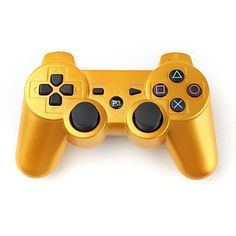 PowerRider Bluetooth Wireless Remote Gamepdad Gaming Controller Gamepad Consoles Joypad Joystick Dualshock for Sony Playstation III PS3 with 6-Axis And Dual-Vibration (Golden)