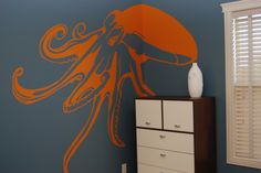 """Marlin Meets Modern , My 8 yr. old son LOVES any creature that lives under the sea!  He wanted a """"fish"""" bedroom, but I didnt want to do your typical ocean theme...he chose the colors and we used our imaginations to create a fun, energetic space.  Hope you like it too! , Boys Rooms Design"""