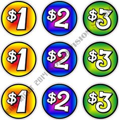 "3"" Price Decals ""$1-$2-$3"" Set of Nine Concession Trailer Food Truck Cart Vinyl #SolidVisionStudio"