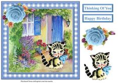 Cute kitten scene gingham card topper decoupage on Craftsuprint - View Now!