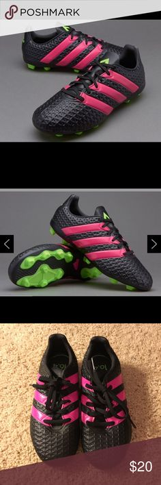 promo code c99fe 670e5 Shop Kids  adidas Black Pink size Shoes at a discounted price at Poshmark.  Description  adidas ACE Kids FxG Core Black Solar Green Shock Pink Soccer  cleats ...