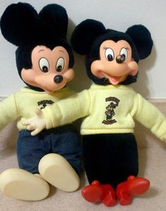 1940's-50's Mickey and Minnie Mouse Plush Dolls, Antique Mickey Mouse, Minnie Mouse, Mickey, Antique Disney Dolls,Disney Collectibles,Disney by Lalecreations on Etsy