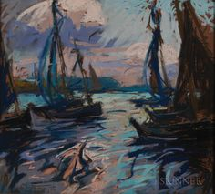 """Evening in the Harbor/Soir au port (Concarneau),"" Charles Henry Fromuth, 1921, pastel on paper, 16 x 17 1/2"", private collection."