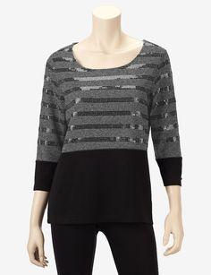 Rafaella Colorblocked Sequin Striped Sweater