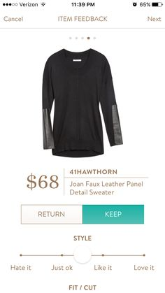 Stitch fix 41 hawthorn Joan faux leather panel top - LOVE THIS. I love the leather accents. Sexy but still classy!
